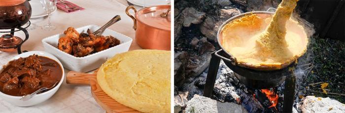 Traditionelle Küche aus dem Trentino. Fotos: links Mauro Bartoli/Valle di Ledro, rechts Roberto Vuilleumier/Valle di Ledro