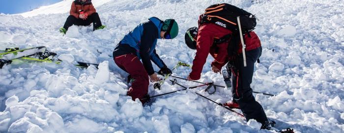 Die Feinsuche findet nah an der Schneeoberfläche statt und es ist Präzision gefragt | Foto: ROCK'nd SNOW Berg- und Skischule, Christopher Spiegel