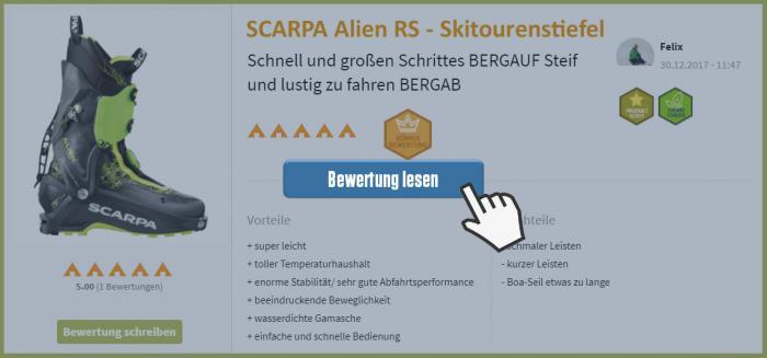 Klick auf's Bild und lies welche Erfahrungen unsere ProduktScouts mit dem Scarpa Alien RS gemacht haben.