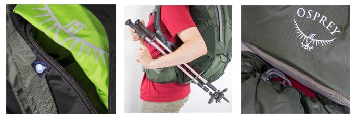 Raincover, diverse Schlaufen und Verstaumöglichkeiten im Deckelfach gehören zu einen guten Trekkingrucksack dazu.