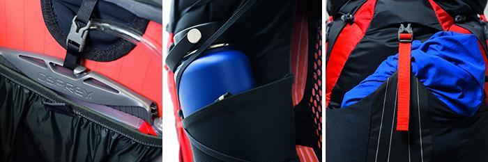 Fach für's Trinksystem und externe Meshpockets and den Seite und vorne: Praktische Verstaumöglichkeiten erleichtern die Orgnaisation der Ausrüstung.