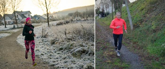 Laufen im Winter: Daniela Rebhan (links) und Carolin Deuter (rechts)