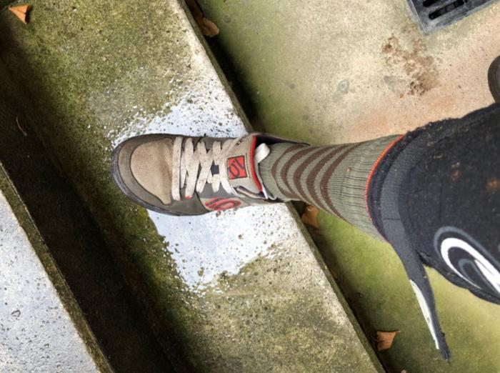 Schuh nach dem Bike-Wash vorne ordentlich nass