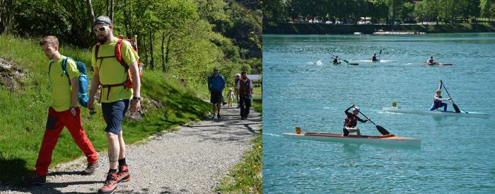 Beides schweißtreibend: Wandern und Wassersport.
