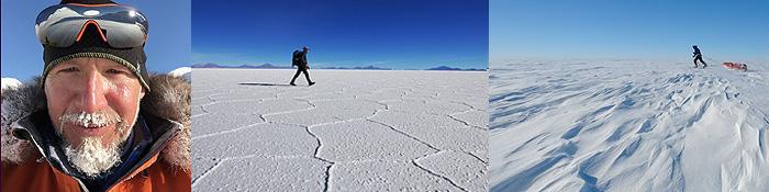 Jerome Blösser durchquert mit seinen Gruppen auch den Salar de Uyuni in Bolivien und erforscht die Eiswüste Grönlands.