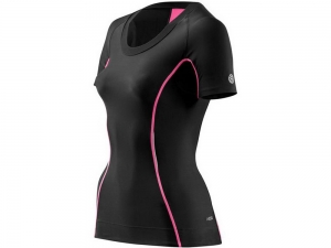 Skins: A200 Womens Short Sleeve Compression Top black-pink