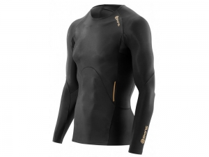 Skins: Bio A400 Mens Top Long Sleeve schwarz