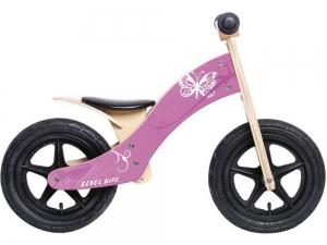 Rebel Kidz Lernlaufrad Wood Air Holz 12 Schmetterling (Pink)
